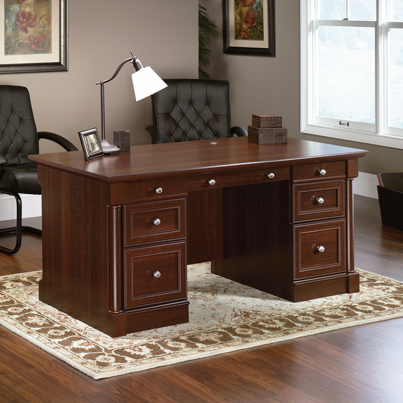 sauder palladia home office executive desk cherry finish