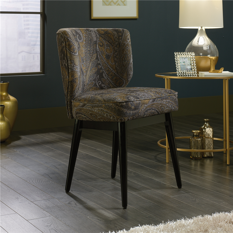 Sauder International Lux Roxy Accent Guest Chair -  Solid Wood Legs