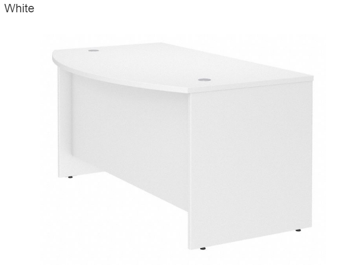 Studio C White Laminate Finish Wood Bow Front Desk