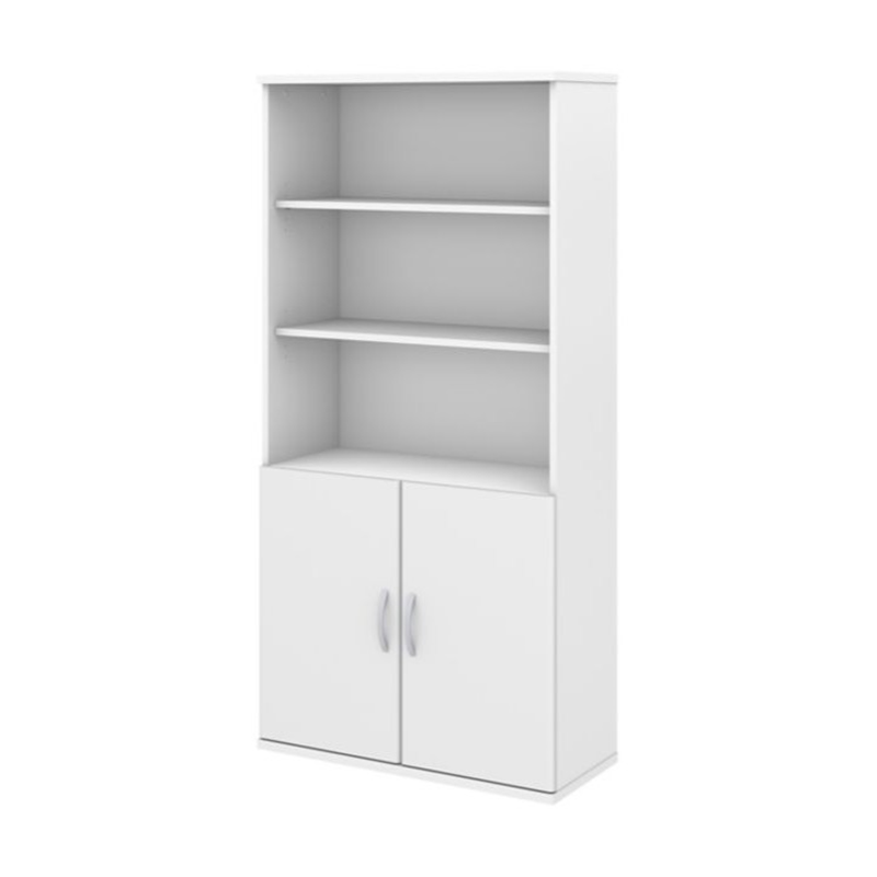 Studio C Storm White Laminate Finish 5 Shelf Bookcase