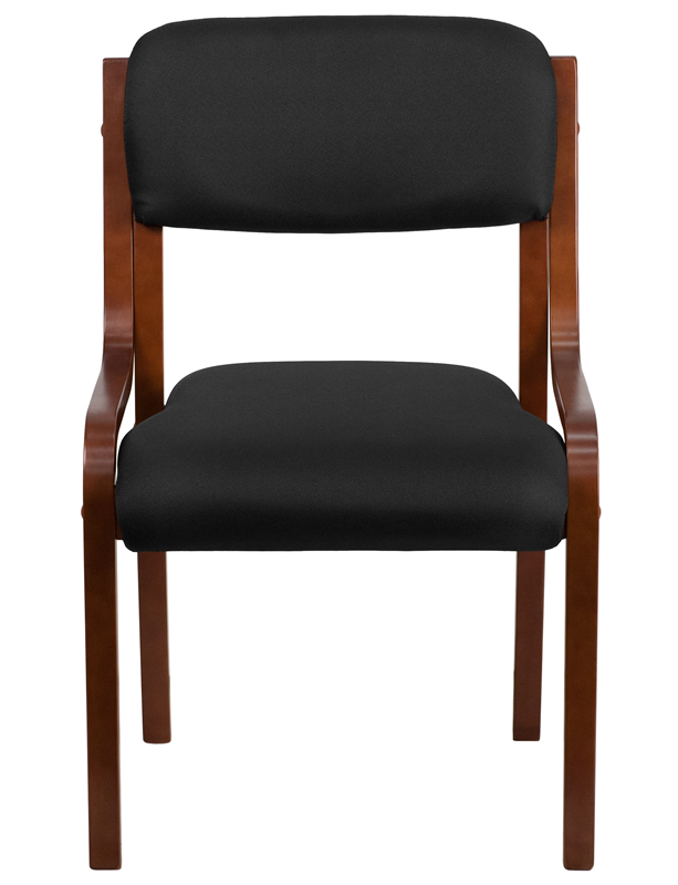 *New* BTOD Black Fabric Armless Guest Chair Walnut Finish