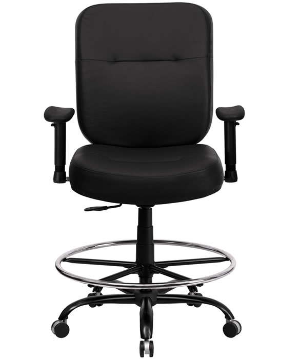 *New* BTOD Heavy Duty Leather Drafting Chair Seat Height 24 - 29''H Rated For 400 lbs.
