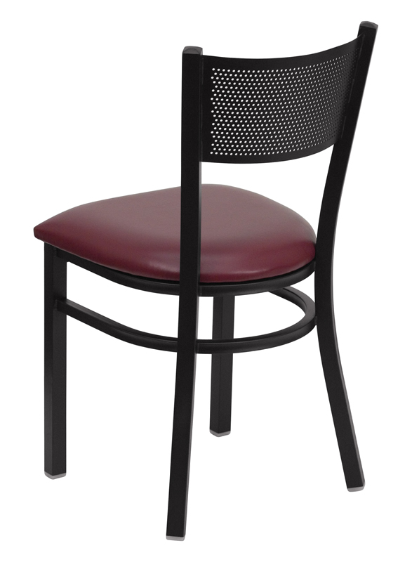 *New* BTOD Grid Back Breakroom Chair Dining Height - Black or Burgundy Vinyl Seat