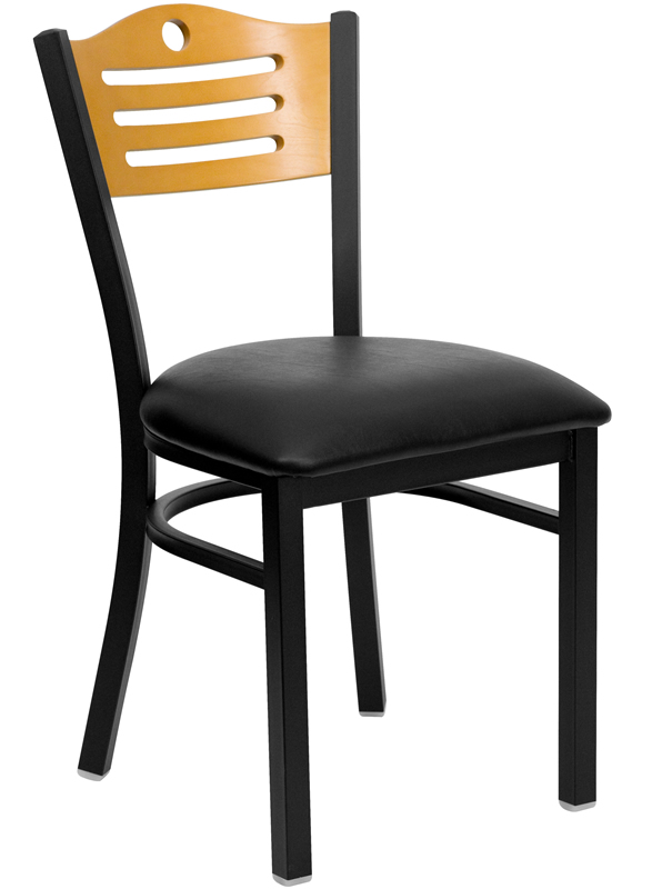 *New* BTOD Slat Back Breakroom Chair Dining Height -  Black or Burgundy Vinyl Seat