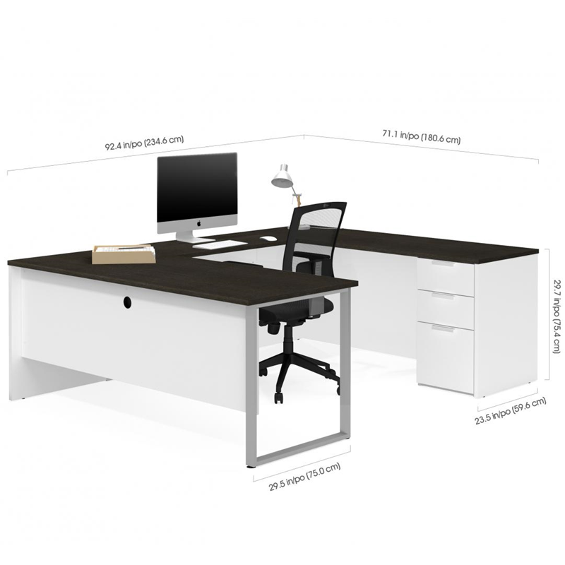 Bestar Pro Concept Plus White & Deep Grey Finish U-Shaped Desk Wood