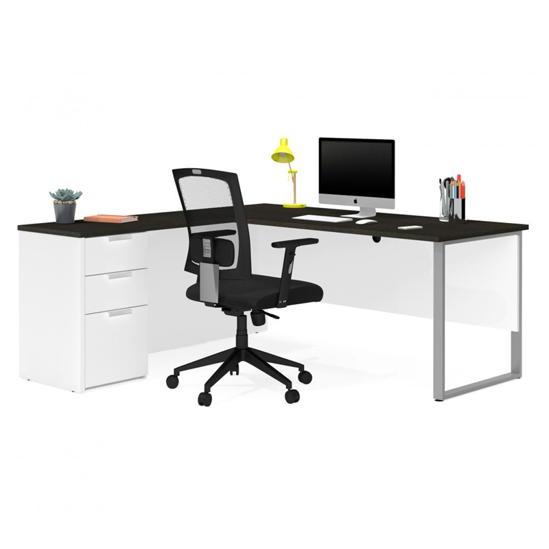 Bestar Pro Concept Plus White & Deep Grey Melamine Finish L-Shaped Desk