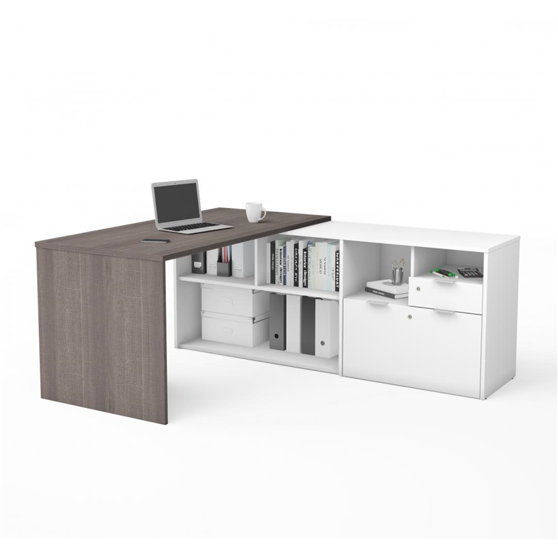 Bestar I3 Plus Bark Grey & White Melamine Finish L-Shaped Desk