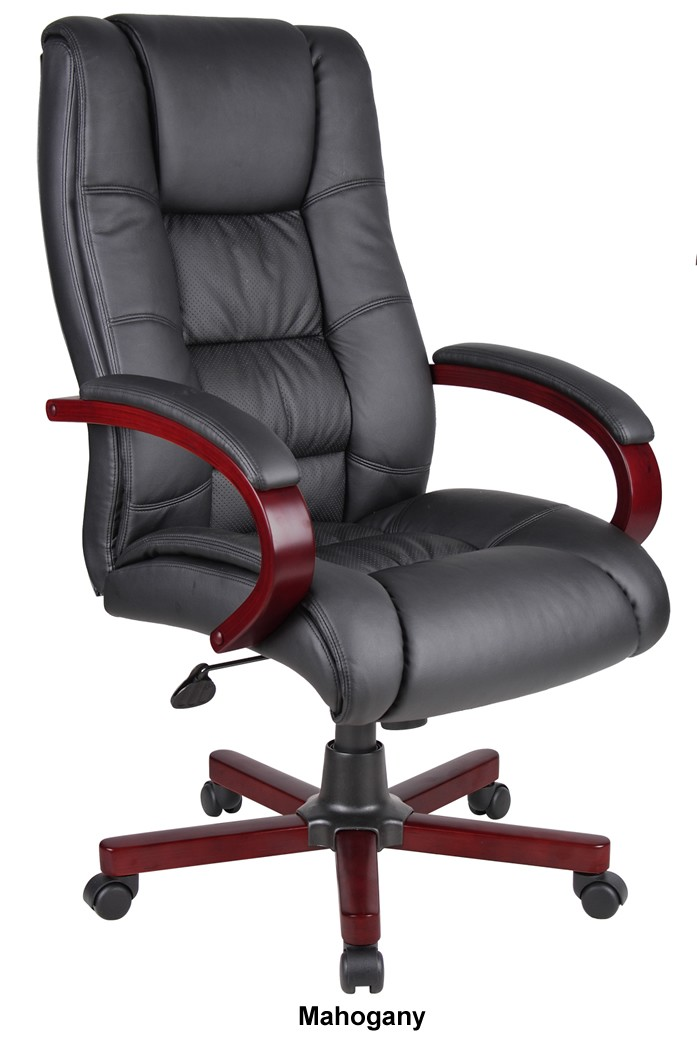 *New* Boss CaressoftPlus High Back Conference Chair Wood Base Accents