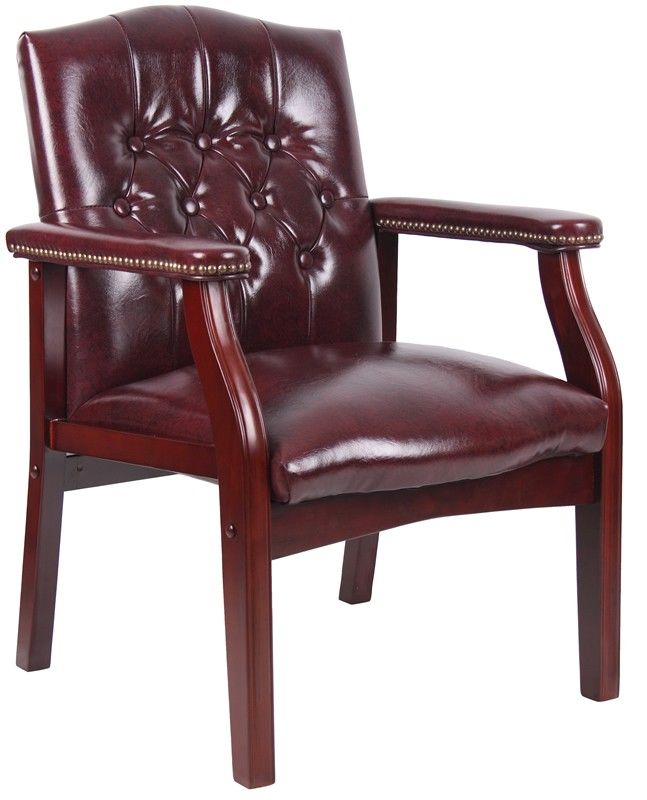 *New*  Boss Traditional Button Tufted Side Chair with Mahogany Wood Finish