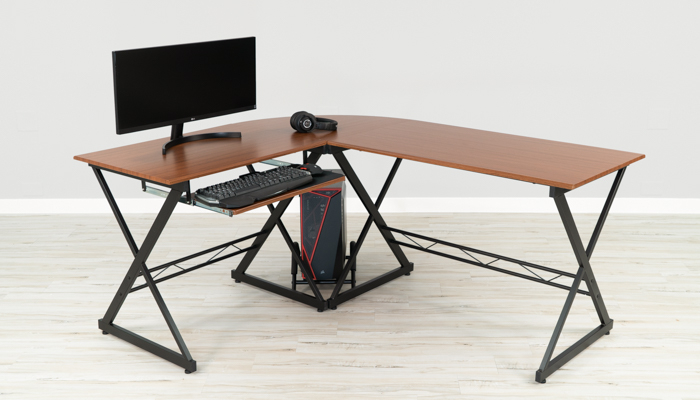 Flash Laminate L Shape Gaming Desk With, Flash Furniture L Shaped Computer Desk With Pullout Keyboard Tray
