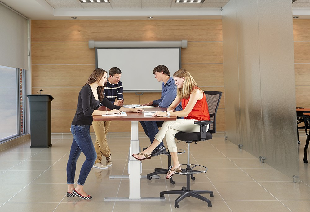 Newheights Boat Shaped Height Adjustable Conference Table