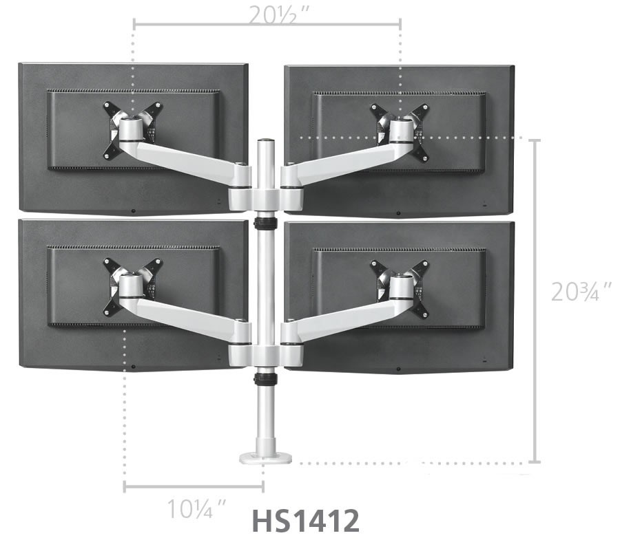 Rightangle Hs1412 Hover 2 Series Quad Monitor Arm Mount