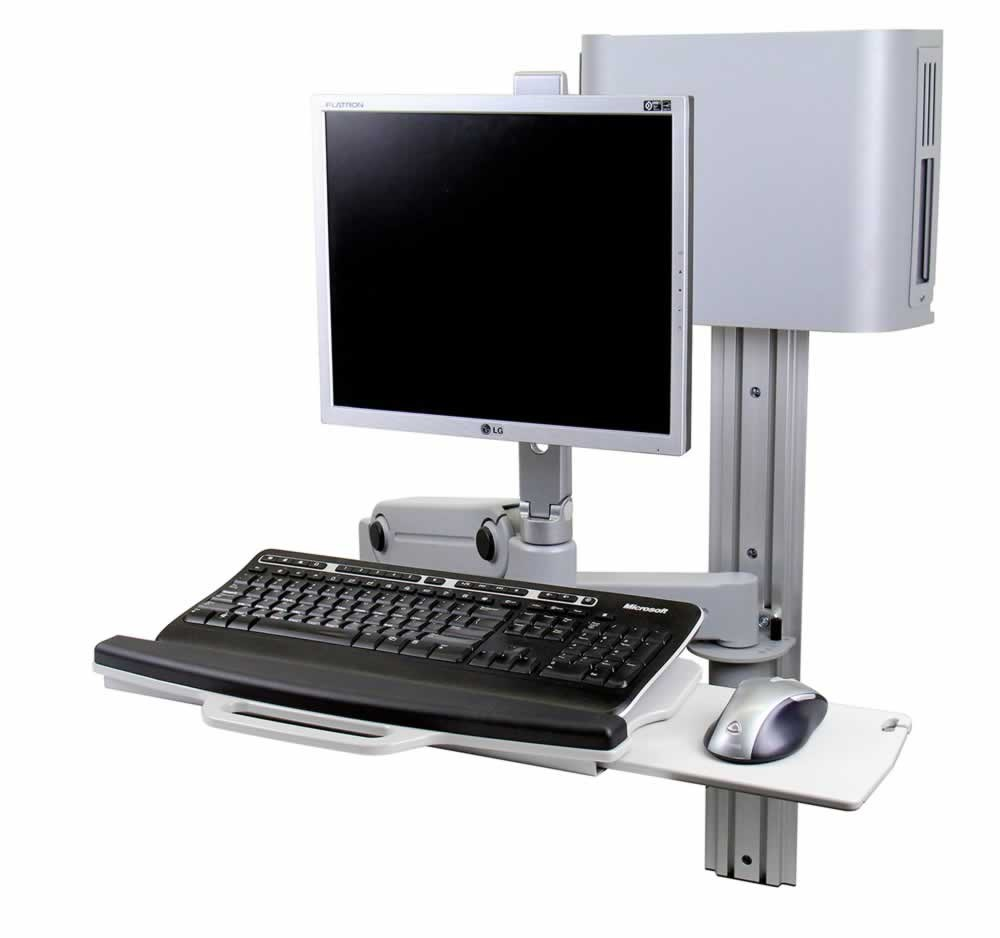 Hover Wall Mount Workstation Keyboard Tray CPU Holder