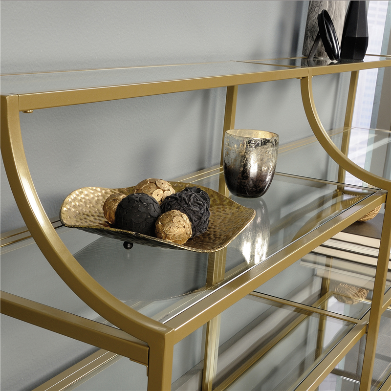Sauder International Lux Console Table Gold Finish 421433