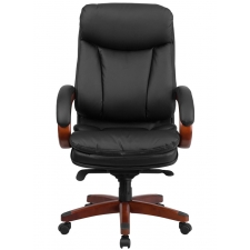 *New* BTOD High Back Leather Office Chair - Mahogany Wood Base