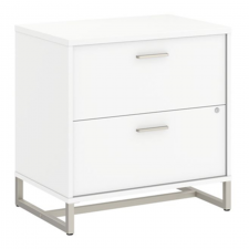 Bush Method White Finish 2 Drawer Lateral File Metal Frame