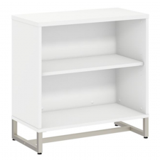 Bush Method White Finish Bookcase Cabinet Metal Frame