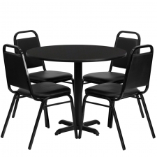 "BTOD 36"" Round Top Dining Height Breakroom Table w/ 4 Trapazoidal Black Chairs"