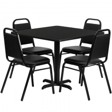 "BTOD 36"" Square Top Breakroom Table w/ 4 Trapazoidal Black Chairs"