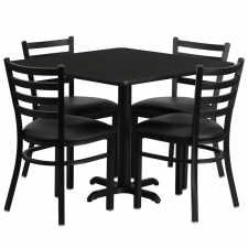 "*New* BTOD 36"" Square Top Dining Height Breakroom Table w/ 4 Ladder Back Metal Chairs - Black or Burgundy Vinyl Seat"