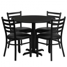 "*New* BTOD 36"" Round Top Dining Height Breakroom Table w/ 4 Ladder Back Metal Chairs - Black or Burgundy Vinyl Seat"
