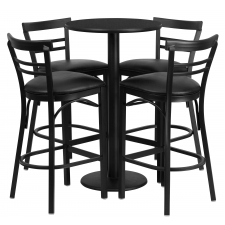 "BTOD 24"" Round Top Bar Height Breakroom Table w/ 4 Ladder Back Metal Bar Stools - Black or Burgundy Vinyl Seat"