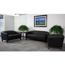 Black Leather Reception Furniture Set