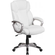 BTOD Mid-Back White Leather Executive Swivel Office Chair