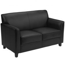 Black Leather Reception Loveseat