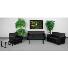 Black Leather Reception Set