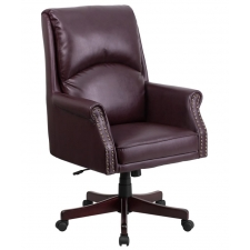 Traditional Leather Chair Burgundy