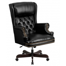 Tufted Black Leather Traditional Chair