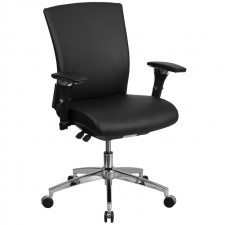 BTOD 24/7 Multi Shift Mid Back Leather Office Chair Rated For 300 lbs.