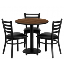 "BTOD 30"" Round Top Dining Height Breakroom Table w/ 4 Ladder Back Metal Chairs - Black or Burgundy Vinyl Seat"