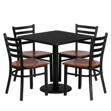 "*New* BTOD 30"" Square Top Dining Height Breakroom Table w/ 4 Ladder Back Metal Chairs - Cherry Wood Seat"