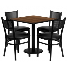 "*New* BTOD 30"" Square Top Dining Height Breakroom Table w/ 4 Grid Back Metal Chairs - Black or Burgundy Vinyl Seat"