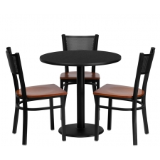 "*New* BTOD 30"" Round Top Dining Height Breakroom Table w/ 3 Grid Back Metal Chairs - Cherry Wood Seat"