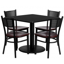"*New* BTOD 36"" Square Top Dining Height Breakroom Table w/ 4 Grid Back Metal Chairs - Mahogany Wood Seat"