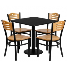 "*New* BTOD 30"" Square Top Dining Height Breakroom Table w/ 4 Ladder Back Metal Chairs - Natural Wood Seat"