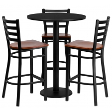 "BTOD 30"" Round Top Bar Height Breakroom Table w/ 3 Grid Back Metal Bar Stools - Cherry Wood Seat"