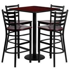 "*New* BTOD 30"" Square Top Bar Height Breakroom Table w/ 4 Ladder Back Metal Stools - Mahogany Wood Seat"