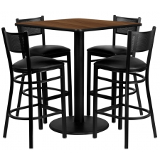 "BTOD 36"" Square Top Bar Height Breakroom Table w/ 4 Grid Back Metal Stools - Burgundy or Black Vinyl Seat"