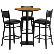 "BTOD 30"" Round Top Bar Height Breakroom Table w/ 3 Grid Back Metal Bar Stools - Black or Burgundy Vinyl Seat"