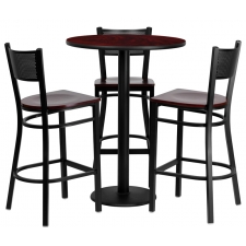 "BTOD 30"" Round Top Bar Height Breakroom Table w/ 3 Grid Back Metal Bar Stools - Mahogany Wood Seat"
