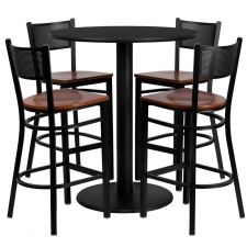 "BTOD 36"" Round Top Bar Height Breakroom Table w/ 4 Grid Back Metal Stools - Cherry Wood Seat"