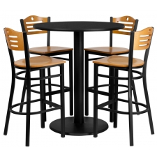 "BTOD 36"" Round Top Bar Height Breakroom Table w/ 4 Wood Slat Back Stools - Natural Wood Seat And Back"