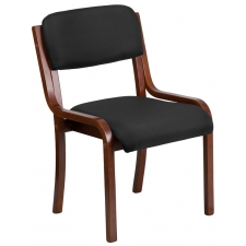 BTOD Black Fabric Armless Guest Chair Walnut Finish