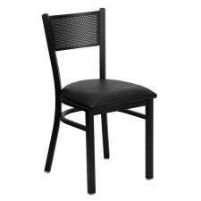 BTOD Grid Back Breakroom Chair Dining Height - Black or Burgundy Vinyl Seat
