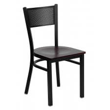 BTOD Grid Back Breakroom Chair Dining Height - Cherry or Mahogany Wood Seat