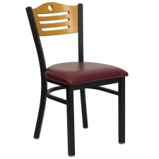 BTOD Slat Back Breakroom Chair Dining Height -  Black or Burgundy Vinyl Seat